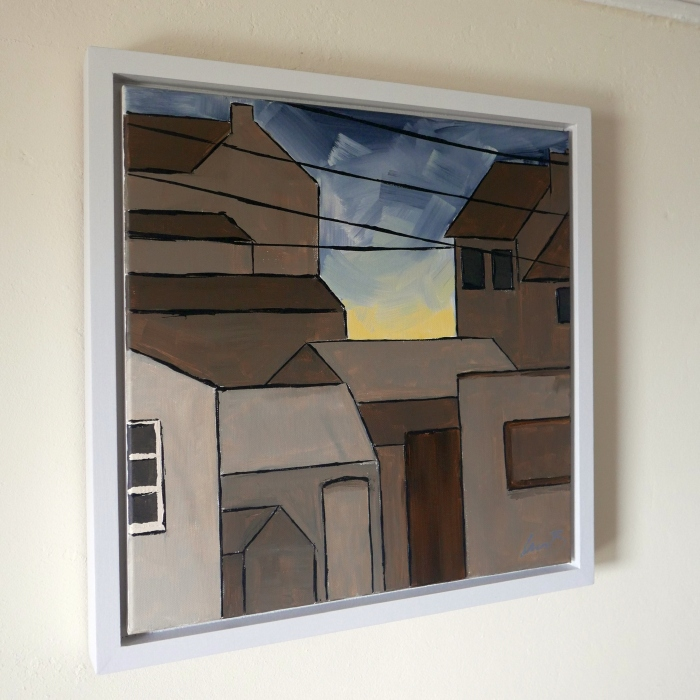 Gold Grey Sky framed
